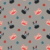 Koe en varkenspatroon royalty-vrije illustratie