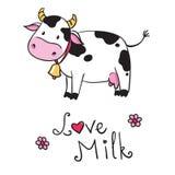 Koe Ik houd van melk Stock Foto's