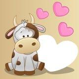 Koe met harten Stock Afbeelding