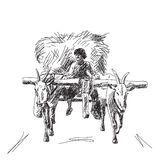 Koe met landbouwer Stock Afbeeldingen