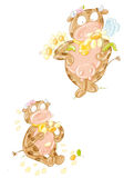 Koe met madeliefje geleden mamma of van het mamma grappig beeldverhaal ontwerp voor kinderjarenboeken vector illustratie