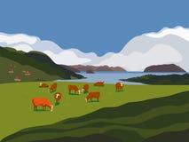 Koe op de weide van Alpen vector illustratie
