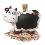 Koe Piggybank 50 Euro Geïsoleerde Bankbiljetten Stock Afbeelding