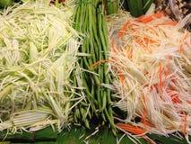 koeerwt, mangoplak en papajaplak Stock Foto's