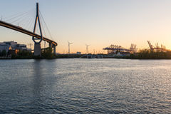 Koehlbrand bridge in the harbor of Hamburg Royalty Free Stock Images