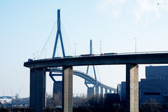 Koehlbrand Bridge over the River Elbe  landmark in Hamburg Germa Stock Photos