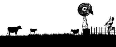 Koeien die naar de windmolen voor een drank lopen vector illustratie