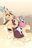 Koeien die op melk snowboarding Stock Afbeelding