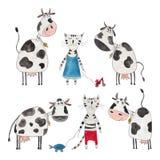 Koeien en katten Royalty-vrije Stock Foto's
