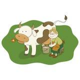 Koeienmelkster die een koe melken Royalty-vrije Stock Foto's