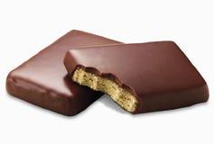Koekje dat in chocolade wordt behandeld royalty-vrije stock foto's
