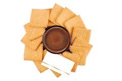 Koekje en een kop van koffie Stock Foto