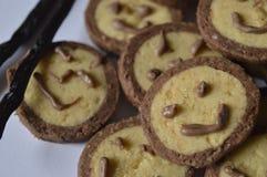 Koekje met chocoladegezicht, met chocoladeglimlach Royalty-vrije Stock Foto's
