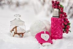 Koekjes, bonthoofdtelefoons en thermosflessen in de sneeuw Stock Foto