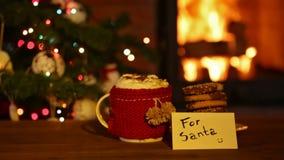 Koekjes en hete chocolade voor santa, cinemagraph stock footage