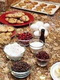 Koekjes en ingrediënten Stock Foto