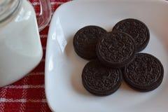 Koekjes en melk Stock Afbeelding