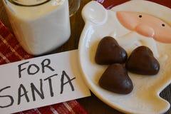 Koekjes en Melk voor Kerstman Stock Fotografie