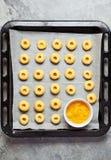 Koekjes met citroen en citroengestremde melk Stock Afbeeldingen