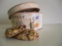 Koekjes met een uitstekende die koekjestrommel half op de achtergrond wordt geopend stock foto