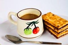 Koekjes met koffie. Stock Afbeelding