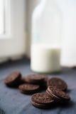 Koekjes met melk Stock Afbeelding