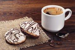 Koekjes met room en koffie Royalty-vrije Stock Afbeelding