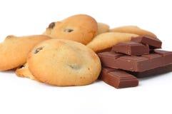 Koekjes met rozijnen en chocolade Stock Afbeeldingen