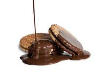 Koekjes met vloeibare chocoladesaus royalty-vrije stock foto's
