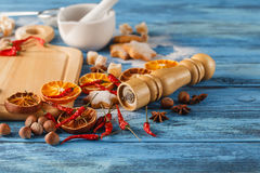 Koekjes van de Kerstmis de eigengemaakte peperkoek, kruiden en scherpe raad Stock Afbeelding