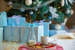 Koekjes van de traditionele traktatiekerstmis en een glas melk voor Kerstman op wit dienblad Nieuw jaar`s concept royalty-vrije stock afbeeldingen