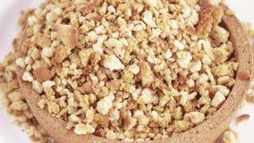 Koekjescrumbs en brood stock videobeelden