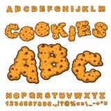 Koekjesdoopvont Voedsel het van letters voorzien Eetbare typografie Baksel ABC Cra Stock Foto