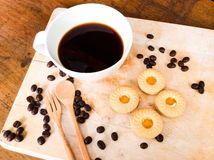 Koekjesring met koffie Royalty-vrije Stock Foto's