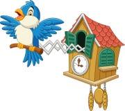 Koekoeksklok met het blauwe vogel tjilpen vector illustratie