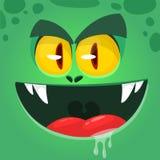 Koel boos beeldverhaalmonster Vectorhalloween-zombieavatar met brede mond Geïsoleerde illustratie vector illustratie