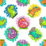 Koel de krabbel vectorpatroon van Dino Royalty-vrije Stock Foto