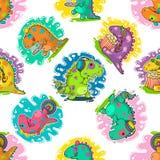 Koel de krabbel vectorpatroon van Dino Stock Foto's