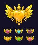 Koel decoratief hart met gouden vleugels en kroon royalty-vrije illustratie