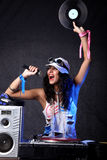 Koel DJ in actie Royalty-vrije Stock Fotografie