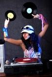 Koel DJ in actie stock foto