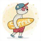 Koel draag in tennisschoengreep surfboad, de zomertijd stock fotografie