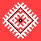 Koel dwarssteekelement Geïsoleerd Oekraïens patroon op rood royalty-vrije illustratie
