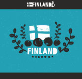 Koel embleem van Finland met hand getrokken binnen beeld Royalty-vrije Stock Afbeeldingen
