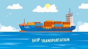 Koel gedetailleerd vectorontwerpelement bij het zeevrachtvervoer met geladen containerschip Moderne globale lading Stock Afbeeldingen