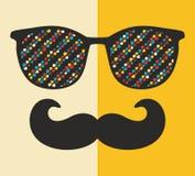 Koel hipster gezichtsdruk van de mens met zonnebril vector illustratie