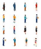 Koel isometrische mensen van verschillende beroepen door van het het niveaugeslacht van het baanonderwijs de klerenharen Stock Fotografie