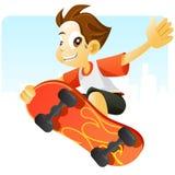 Koel jong geitje dat met zijn skateboard springt stock illustratie