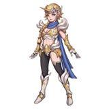 Koel Karakter: Unicorn Female Warrior op Witte Achtergrond wordt geïsoleerd die stock illustratie