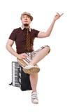 Koel musicus met concertina royalty-vrije stock foto's